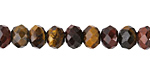 Tiger Eye (multi) Faceted Rondelle 6x8mm