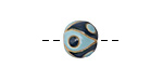 Golem Studio Light & Dark Blue Yin Yang Carved Ceramic Round Bead 12x13-14mm