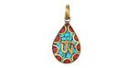 Tibetan Brass Teardrop Om Pendant in Turquoise & Coral Mosaic 16x32mm