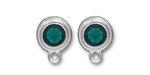 TierraCast Rhodium (plated) Stepped Bezel Ear Post w/ Emerald Crystal 12x17mm