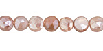 Peach Moonstone w/ Mystic Luster Faceted Coin 8mm