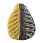 Greek Ceramic Raku Metallic Harvest Fossil Pendant 30x39mm