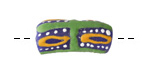 African Handpainted in Green/Saffron/White on Blue Powder Glass (Krobo) Bead 21-23x10-11mm