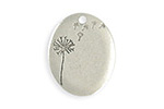 Vintaj Antique Sterling Silver (plated) Oval Dandelion Blank 20x25mm
