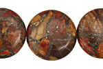 Red Creek Jasper w/ Pyrite Puff Coin 25mm