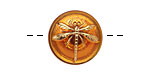 Czech Glass Amber w/ Gold Dragonfly Button 18mm