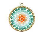 Turquoise Mix Crystal Hand Woven Gold (plated) Stainless Steel Focal 30x33mm