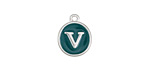 "Peacock Green Enamel Silver Finish Initial Coin Charm ""V"" 12x14mm"
