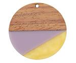 Walnut Wood & Lavender Fields Resin Coin Focal 38mm