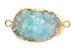 Sky Blue Druzy Pendant Link set in Gold (plated) 40-50x25-35mm