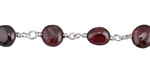 Garnet Nugget Silver Finish Bead Chain