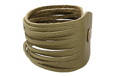 "The Lipstick Ranch Olive Shredded Leather Cuff Bracelet 2""x 9 3/4"""