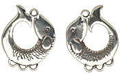 Saki White Bronze Koi Earring Chandelier Pair 25x23mm
