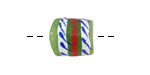 African Hand-Painted in White/Red/Blue on Green Powder Glass (Krobo) Bead 13-16x11-13mm