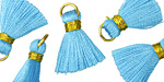 Aqua w/ Gold Binding & Jump Ring Thread Tassel 17mm