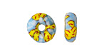 African Recycled Glass & Seed Bead Light Blue & Yellow Donut 4-6x14-16mm