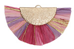 Flower Garden w/ Metallic Gold Fringed Raffia Focal 45x27mm
