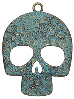 Zola Elements Patina Green Brass Sugar Skull Pendant 48x64mm