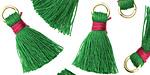 Kelly Green w/ Fuchsia Binding & Jump Ring Thread Tassel 18mm