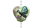 Grace Lampwork Green Sparkle Garden Butterfly Heart 19-20mm