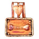 Patricia Healey Copper Bone w/ Heart 20mm Cord Slide 36x45mm