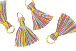 Rainbow w/ Gold Binding & Jump Ring Thread Tassel 18mm