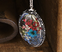 Glass Orb Oval w/ Heritage Mix & Turquoise Flowers and Pave Crystals 25x50mm