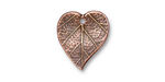 TierraCast Antique Copper (plated) Heart Leaf Charm 15x17mm