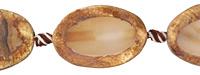 Tibetan (Dzi) Agate Matte Oval Slice 30-32x22-24mm