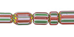 Nepalese Cane Glass Red, White & Green Barrel Beads 8-17x8-10mm