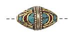Tibetan Brass Rice Bead w/ Turquoise & Coral Mosaic 27x17mm