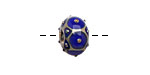 Grace Lampwork Cobalt w/ Metal Dots Rondelle 9x14mm