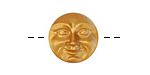 Czech Glass Gold Luster Moon Face Button 16mm