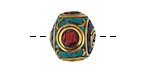 Tibetan Brass Rondelle w/ Turquoise, Coral & Lapis Mosaic 15x17mm