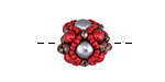 Cranberry Ice Hand Woven Round Bead 15mm
