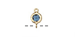 Montana Blue Crystal in Gold (plated) Textured Bezel Link 7x12mm