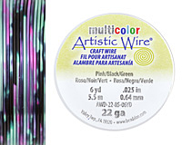 Artistic Wire MultiColor Pink/Black/Green 22 Gauge, 6 Yards