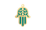 Turquoise Enamel Gold (plated) Stainless Steel Hamsa Focal 17x25mm
