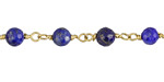 Lapis Faceted Round 6mm Brass Bead Chain