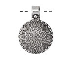 Zola Elements Antique Silver (plated) Floral Window Dome Pendant 24x34mm