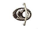 Saki White Bronze Dragon's Tail Toggle Clasp 22x15mm