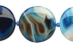 Denim Agate Irregular Puff Coin 25-27mm