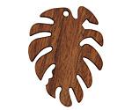 Walnut Wood Monstera Leaf Focal 29x38mm