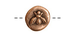 Nunn Design Antique Copper (plated) Round Bee Button 17x18mm