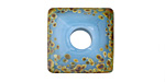 A Beaded Gift Dusted Cyan Raku Large Glass Square Rondelle (large hole) 20-21mm