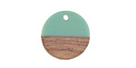 Wood & Vintage Turquoise Resin Coin Focal 18mm