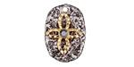 Zola Elements Antique Silver & Matte Gold (plated) Cross w/ Smoky Crystals Textured Focal 15x22mm