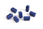 Navy Blue Enamel 2-Hole Tile Thin Rectangle Bead 4x8mm
