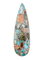 Ocean Blue Impression Jasper & Pyrite Long Teardrop Pendant 18x59mm