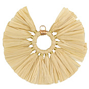 Latte Fanned Raffia Tassel on Ring w/ Gold Finish 55mm